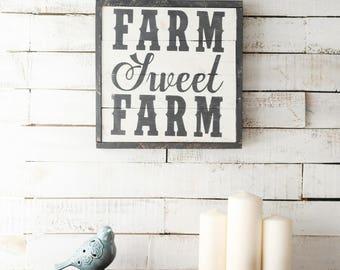 Farm Sweet Farm Wood Sign - Farmhouse Sign, Fixer Upper Style, Farmhouse Kitchen, Kitchen Wall Decor, Farmhouse Style, Reclaimed Wood Sign