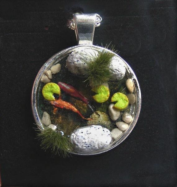 Wildlife Pond Surrounded By Pebbles: Koi Fish Pond Necklace Pond Pendant Zen Necklace Miniature