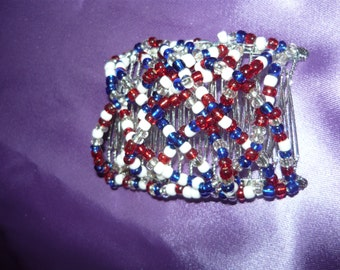 red white and blue interlocking  hair comb