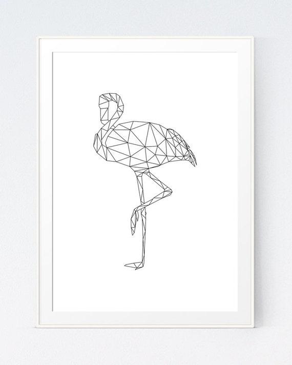 Black And White Origami Geometric Flamingo Printable Animal