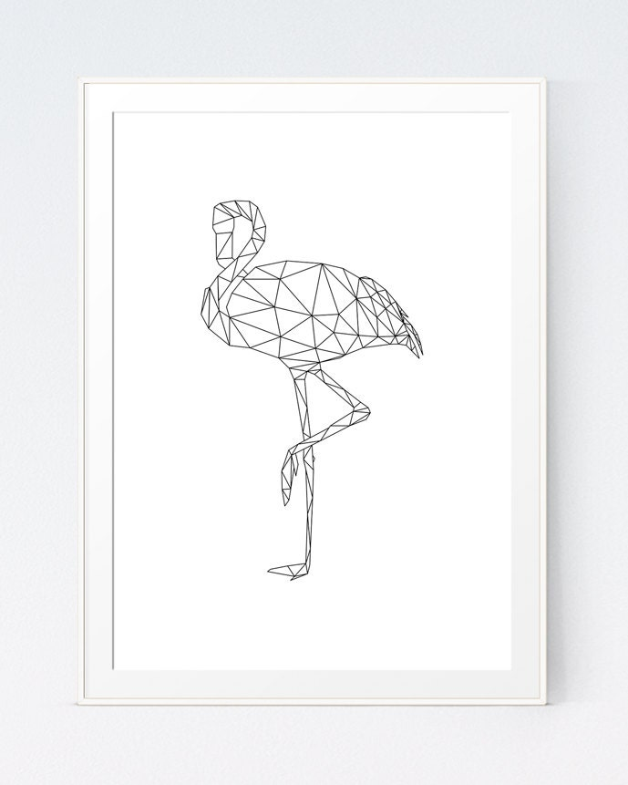 Black And White Origami Geometric Flamingo Printable Animal