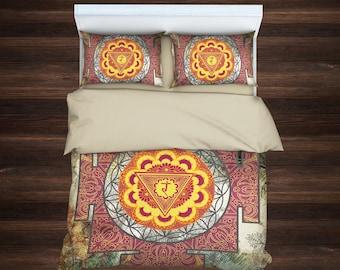 Manipura Bedding, Sacred Yantra Bedding, Manipura Chakra, Sacred Mandala Bedding,Boho Bedding,Bohemian Bedding,Mandala Duvet Cover