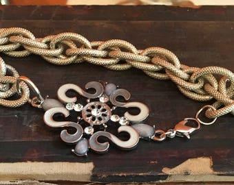 Bracelet/ Lightweight Goldtone Vintage Chain/Cream and Metal Focal Piece