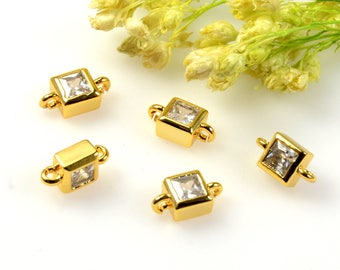 Square Cubic Connectors, 3mm Cubic Zirconia Connector Pendant, Square CZ Connector, Tarnish Resistant Gold Plating Cubic Zirconia Connectors
