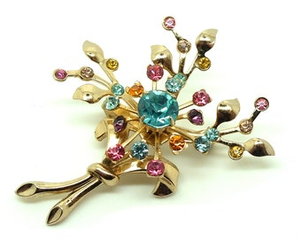 Vintage 1950s Flower Brooch | Flower Brooch | Flower Pin | Diamante Brooch | Floral Brooch | Vintage Pin | Vintage Brooch | 50s Flowers