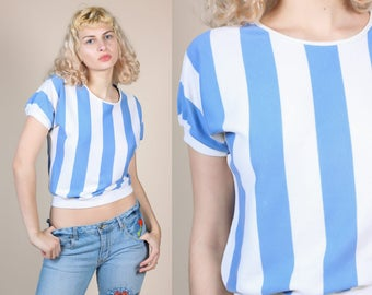 80s Striped Crop Top - Large // Vintage Blue White Cropped Cap Sleeve Shirt