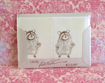 Vintage Gwen Frostic Note Cards and Envelopes - Raccoons
