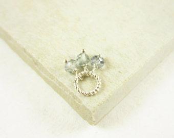 Tiny Trio - Green Amethyst Gemstone Jewelry - Sterling Silver Charms - Wire Wrapped Jewelry Handmade - Genuine Gemstone Necklace Charms