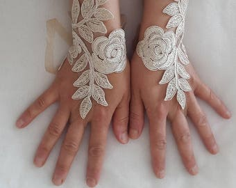 bride accessories,champagne lace, wedding gloves, costume gloves, bridal gloves, free shipping!