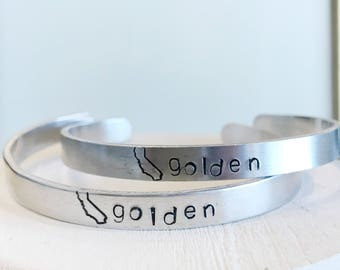 California Golden State of Mind Hand Stamped Bracelet cuff hypoallergenic aluminum gifts for her