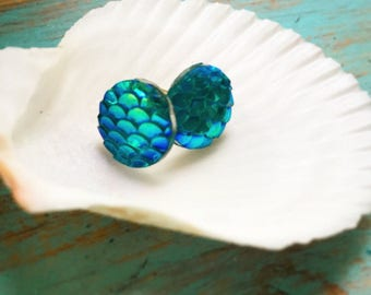 Mermaid Blue and Green Studs