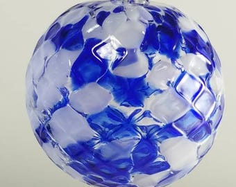 Blue and White Hand Blown Christmas Ornament and Suncatcher