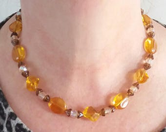 ladies beaded necklace amber crystal beads