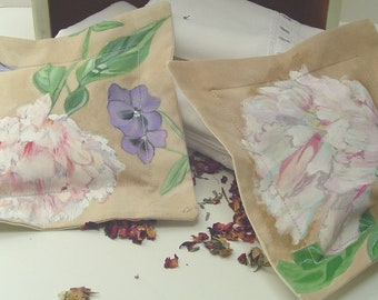 Peony & Pansy Floral Sachet Hand Painted 7x7 Dried Rose/Lavender Buds Romantic Drawer Linen Pillow Sachet Mothers Day Birthday Lovely Scent