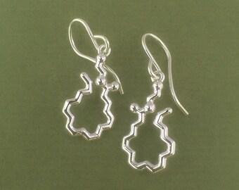 anandamide bliss molecule earrings in sterling silver