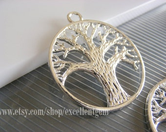 Silver plated, Tree pendants, Charms, 37 x 35mm