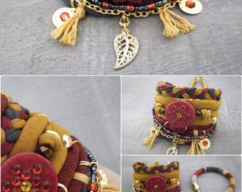 Layering Bracelets Yellow Red Grey, Gypsy Bracelet Set Bohemian Style, Hippie Jewelry, T-shirt Yarn Bracelet Leaf Charm, Autumn Bracelet