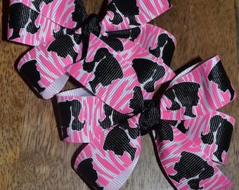 Set of Two Barbie Hair Bows Retro Barbie Pink Zebra Stripes