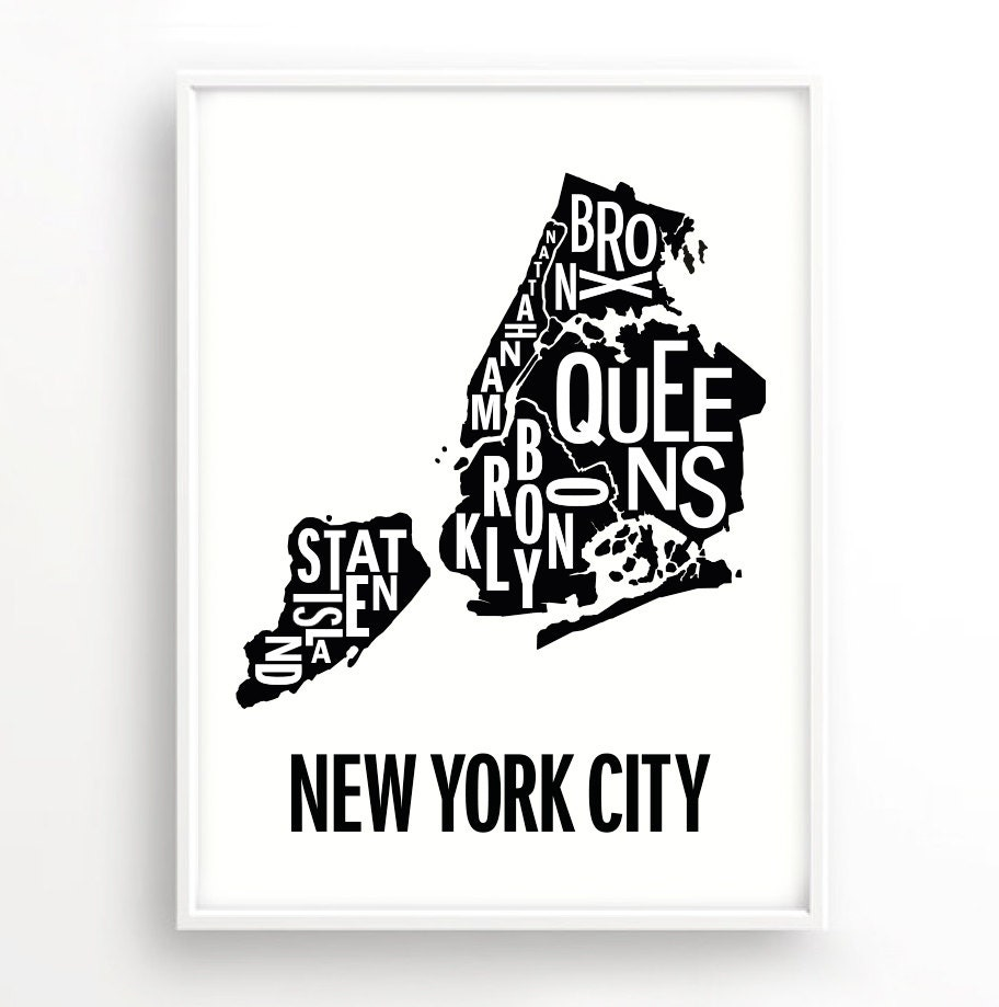 New york Poster Typography Map Graphic art USA Art
