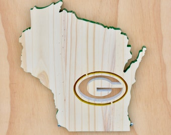 Green Bay Packers Wisconsin State Wood Cutout