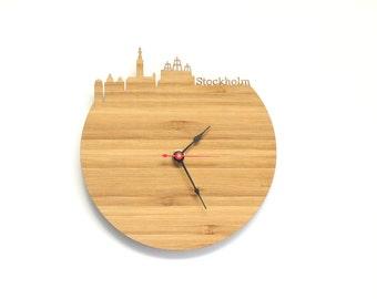 Stockholm Modern Clock - City Skyline Wall Clock - Sweden