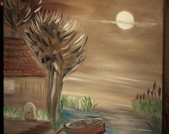Original Figurative painting Moonlight Lake