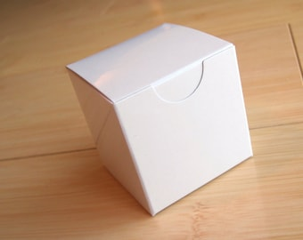 10 - Small  2 x 2 x 2 WHITE glossy boxes - Perfect for party favors, candy buffets, weddings and so much more