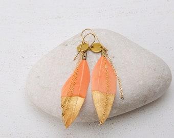 Feather Earrings/Coral Feather Earrings/Orange Feather Earrings/Feather Dangle Earrings