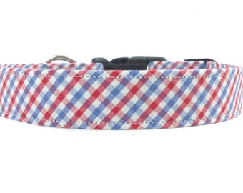 Patrotic Red White and Blue Checkered Gingham Dog Collar