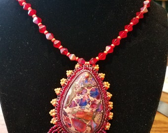 Sunset Bead Embroidery Necklace