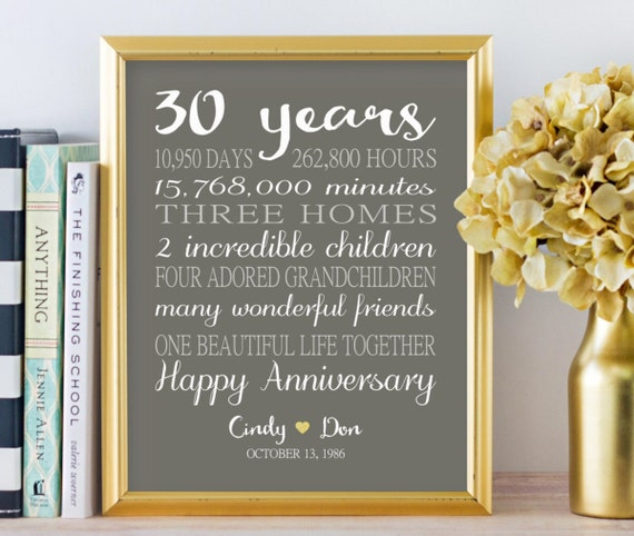 What Is The 30th Wedding Anniversary Gift: 30th Anniversary Gifts Personalized Gift 30 Years Wedding