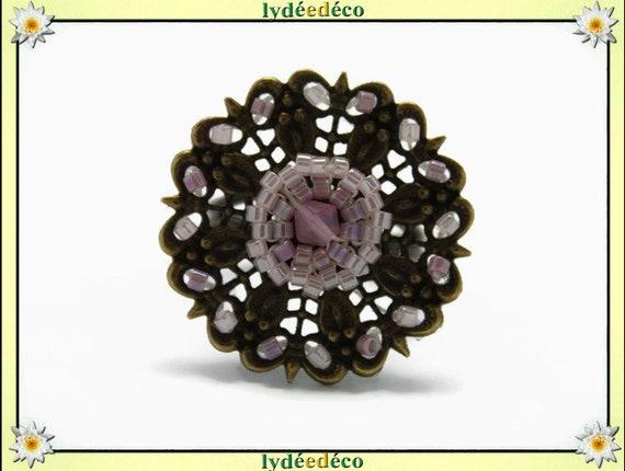 Japanese Pink White pastel glass 25mm brass beads charm retro vintage adjustable flower ring