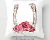 Horseshoe Pillow, Roses, ...
