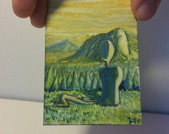 Pine Worship, ACEO ATC Original Tiny Painting by Dakota Jernigan