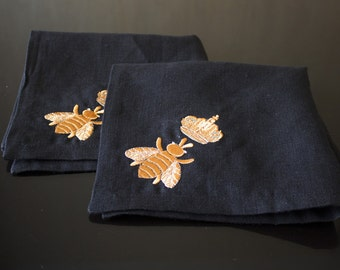 BEE Napkins Wedding BLACK  napkins Linen Natural Napkins Monogrammed Housewarming Specia Table decor Home decor Washed Eco linen Custom