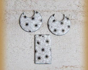 3 enameled copper charms