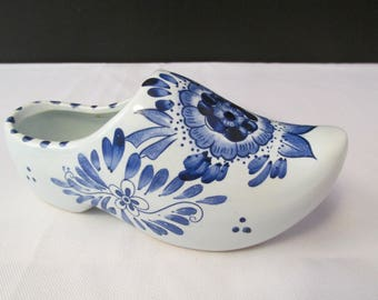 """Vintage Hand Painted Delft Blauw Blue Floral Dutch Shoe 7"""""""