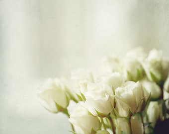 White Roses Photograph, White Rose Bouquet Picture, White Flower Photography, Minimal Fine Art Print, White, Neutral, Beige