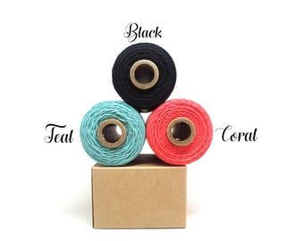 Black Twine - Coral Pink Twine - Teal Twine - Black String - Coral String - Teal Decor, Full Spool