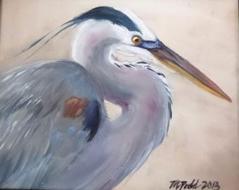 Great Blue Heron Facing Right - 8 x 10 inch original oil painting of a great blue heron by Martha Dodd
