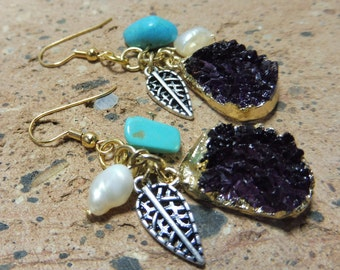Boho Earrings, Druzy Earrings, Turquoise Earrings, Freshwater Pearl Earrings, Hypoallergenic Earrings, Birthstone Earrings, Gift Idea