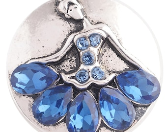 1 PC - 18MM Blue Ballerina Rhinestones Silver Charm for Snap Jewelry KC8702 CC3713