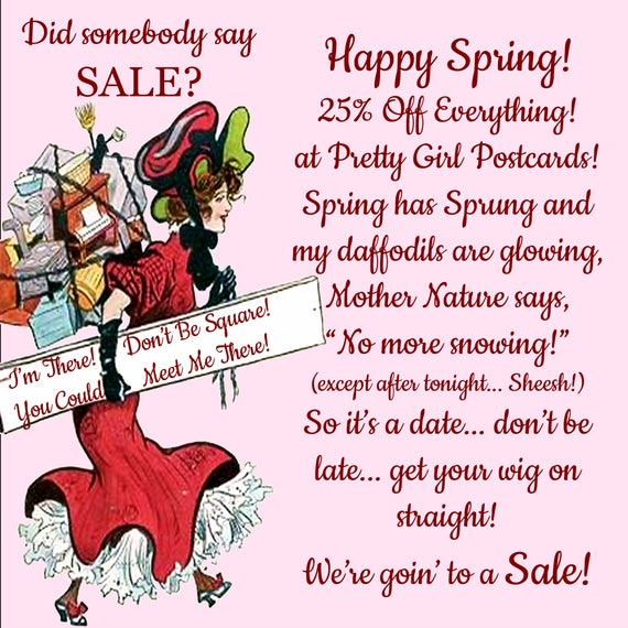 HAPPY SPRING SALE! 25% Off Everything In The Shop! Pretty Girl Postcards! Fridge Magnets! Theme Sets! Forgotten Art Greeting Cards w/Env.
