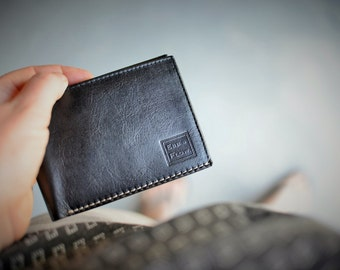 Men's Leather Bi-Fold Wallet Genuine Leather Handmade by Ebb Flow