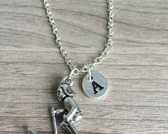 Skiing initial necklace, Ski jewelry, Skiing Jewelry, gift for Skier, winter sports jewelry, silver Ski necklace, Olympics necklace