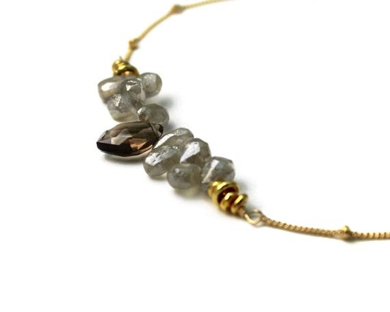Subtle Bar Necklace. Silverite and Smoky Quartz Necklace, Teardrop Necklace. Gemstone Jewelry. NM-2189-3