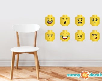 Building Brick Minifigure Heads Wall Decals - Set of 8 Emoji Wall Stickers - Non-Toxic, Reusable, Repositionable - Sunny Decals