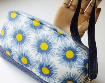 Blue Floral Wristlet