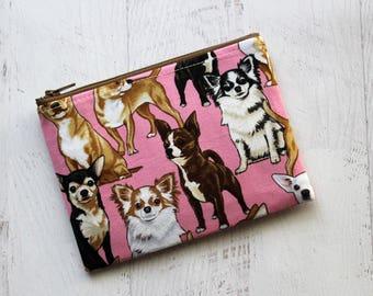 Chihuahua print bag - pink zipper pouch - chihuahua gift - dog gifts - pet gifts - chihuahua purse - chihuahua pouch - chihuahua lover