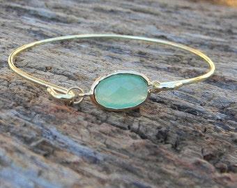 Gold Bangle Bracelet / Aqua Blue Bracelet / Bridesmaid Gift / Bridesmaid Jewelry / Bridesmaid Bracelet / Valentine Gift / Black Friday